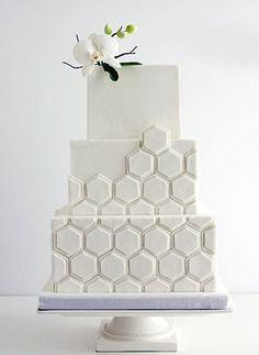 White geometric hexagon cake by Coco Paloma Desserts