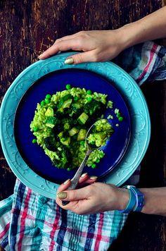 Roasted broccoli and zucchini risotto with green pea puree