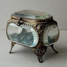 Antique gilt ormolu jewelry box Glass jewelry casket by nancyplage, £75.00