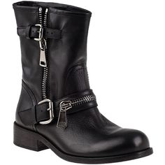 275 CENTRAL 1887 Biker Boot Black Leather ($180) ❤ liked on Polyvore featuring shoes, boots, ankle booties, ankle boots, black leather, short leather boots, black bootie, black ankle boots and black leather ankle booties