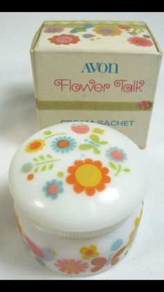 Avon Flower Talk Cream Sachet Jar Vintage With Box - keep this in the bathroom with the spray bottle. When I take my earrings out, I put them in this jar filled with alcohol overnight. Vintage Makeup, Vintage Avon, Vintage Beauty, Retro Makeup, Vintage 70s, 1980s Childhood, Childhood Memories, Perfume Good Girl, Avon Lipstick