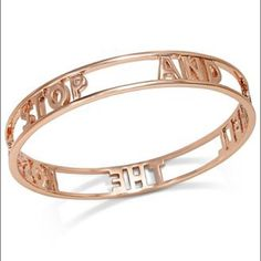 "kate spade rose gold words of wisdom bangle kate spade rose gold words of wisdom bangle. one size. 9"" circumference, 2.5"" diameter. cut-out bangle in rose gold with 'stop and smell the roses' idiom. only sign of wear is small spot on inside near 'the' (see photo), otherwise in great condition. kate spade Jewelry Bracelets"