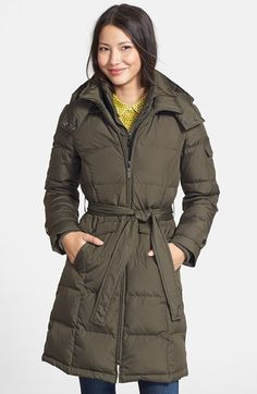 Ellen Tracy Belted Down Coat (Regular & Petite) (Online Only) available at #Nordstrom