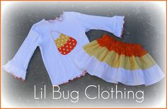 Candy Corn Tiered Skirt and Tee Yellow and Orange Polka Dot Halloween Outfit. $39.99, via Etsy.