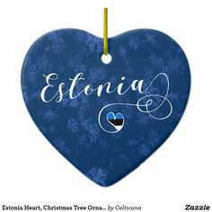 #Estonia Heart, Christmas Tree Ornament, #Estonian. These holiday decorations are available in different styles #Zazzle #holidaydecor #christmasdecor