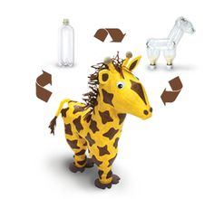 Recycled bottle/ Paper Machete  Animals! How neat! :-D