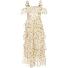 AlexaChung  Tiered Floral-Print Cotton Dress ($785) ❤ liked on Polyvore featuring dresses, floral, white dress, tiered dresses, open shoulder dress, flower pattern dress and white ruffle dress
