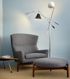 Chair, stool and lamp