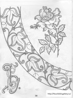 Rose, et bordure, dessin