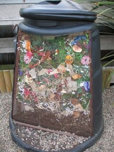 Composting with kids, including directions for letting kids make their own compost in a soda bottle to grow their own plants! Great idea!