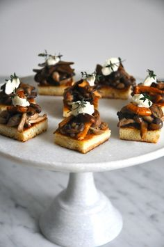 Wild Mushrooms on Brioche Crostini by kitchenculinaire #Appetizers #Crostini #Mushrooms