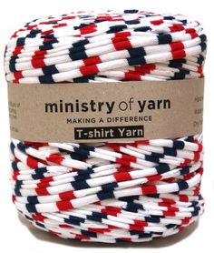 blue red white striped recycled t-shirt yarn Australia
