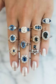 Sapphire and Diamond Rings (September and April)