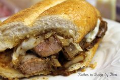 Steak and Mushroom Melt with Mozzarella Cheese - My all time favorite sandwich.