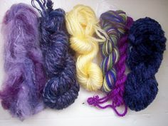 Grab bag assorted yarn 50g purple yellow by SpinningStreak on Etsy, $10.00