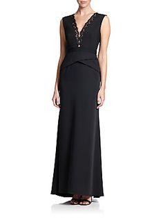 BCBGMAXAZRIA Lace-Trim Peplum Gown