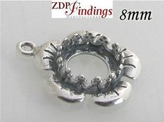2pcs x Round 8mm Flower Bezel Cup with loop Antique by zdpfindings