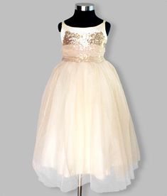 Girls gold organza and sequin party dress, full layered glitter skirt. For party, wedding and special occasions. Girls Dresses, Flower Girl Dresses, Formal Dresses, Wedding Dresses, Faux Fur Bolero, Stunning Girls, Sequin Party Dress, Satin Flowers, Special Occasion Dresses