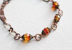 Orange Bead Bracelet Boho Chic Crystal Beaded by LittleBitsOFaith