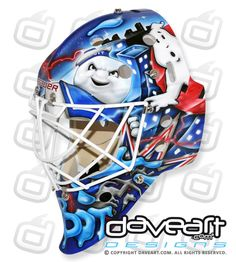NY Rangers' Ghostbusters goalie mask, complete with Stay Puft Marshmallow Man