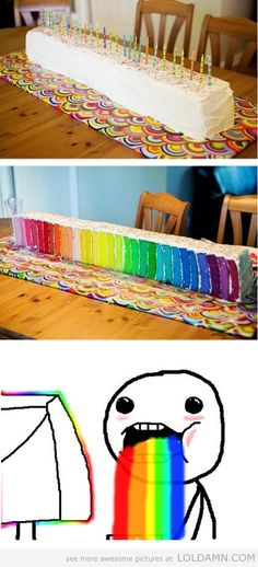 Rainbow cake..puking rainbows