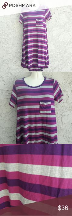 Purple mix Stripped Dress from LuLaRoe Size XLarge An Original LuLaRoe Design features a Stripped Body color including pink, Blue, Violet and Grey. Super soft Fabric.  NWOT Item Size : Extra Large 96% Polyester 4% Spandex LuLaRoe Dresses