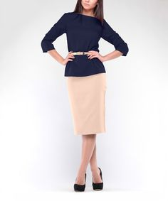 Look what I found on #zulily! Navy Blue Boatneck Top & Beige Pencil Skirt - Plus Too #zulilyfinds