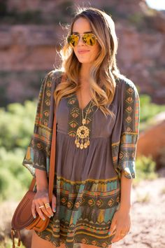 Love the muted colors and gauzy fabric would wear with leggings or jeans not as a dress