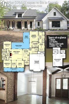 Plan Mid-Size Exclusive Modern Farmhouse Plan Love - Garage storage, big pantry, love master WIC, WICs in other bedrooms Not - no mudroom, dining room (could change to study/office) Could have basement with theater room and guest room with bathroom Basement House Plans, New House Plans, Dream House Plans, My Dream Home, Dream Houses, Basement Bedrooms, Basement Bathroom, Floor Plan With Basement, House Plans With Garage