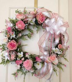 Rose Wreath-Wedding /Shower Wreath-Spring Wreath-Mother's Day Wreath-Front Door