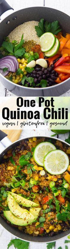 Dieses One Pot Quinoa Chili mit Avocado ist perfekt wenn es schnell gehen soll, aber man trotzdem etwas Gesundes essen möchte. Das Gericht ist nicht nur vegan, sondern auch glutenfrei und super gesund! Mehr vegane Rezepte findet ihr auf veganheaven.de