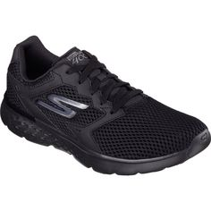 Men's Skechers GOrun 400 Running Shoe - Black Athletic ($63) ❤ liked on Polyvore featuring men's fashion, men's shoes, men's athletic shoes, black, mens breathable shoes, mens lightweight running shoes, mens running shoes, mens black athletic shoes and mens black shoes