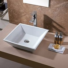 This is a very cute white bowl sink.  There are 4 different types of bowl sinks and this is one of the best ont he mraket.  Luxier CS-006 Bathroom Porcelain Ceramic Vessel Vanity Sink Art Basin