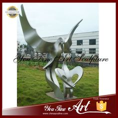 Large Outdoor Stainless Steel Abstract Bird Eagle Sculpture Photo, Detailed…