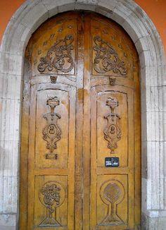 Church doors in Los Rodrigues, Mexico