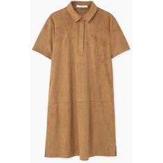 MANGO Shirt dress ($80) ❤ liked on Polyvore featuring dresses, vestidos, short sleeve shirt dress, beige shirt dress, t-shirt dresses, collar dress and short-sleeve dresses