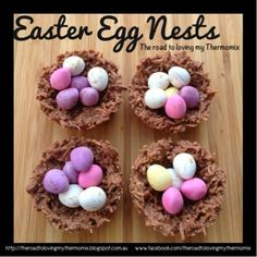 These are a perfect little gift for Easter! I make these up, wrap in cellophane and a little ribbon as a little gift to people. They are super easy but look eff(Easter Baking Thermomix) Chocolate Nests, Egg Nest, Sweets Cake, Easter Activities, Easter Treats, Easter Recipes, Eggs, Grand Kids, Shredded Coconut