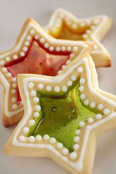 Stained Glass Window Cookies   Make a cutout in sugar cookie dough and place a WHOLE , not crushed, hard candy (like jolly ranchers) in the cut out. Bake for 4-8 minutes on a foil lined cookie sheet.