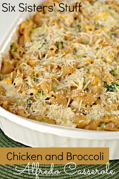 Chicken and Broccoli Alfredo Casserole from SixSistersStuff.com- your whole family will love this one! #dinner #familydinner #recipe