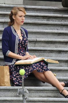Blake Lively in Adaline Blake Lively gave us some serious retro fashion inspiration when these new pics of her on the set of Adaline landed on our desks. We're very much copying the tea dress and varsity jacket look, this summer