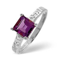 This amethyst ring is exceptionally good value at just £189 and would make a superb present for anyone who celebrates their birthday in February. Set in 9K white gold and flanked by 0.01CT of Premium Quality Diamonds, the centre stone of this ring is princess cut to highlight the deep colour and wonderful shine of amethyst  #thediamondstoreuk #amethyst #amethystjewellery #amethystbirthstone #februarybirtshstone #amethystrings