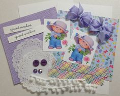 Sweet card crafting ephemera kit by Nettiesetsy on Etsy