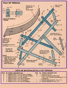 CONSTRUYA SILLAS PORTATILES NOVIEMBRE 1985 002A LISTA DE MATERIALES SILLA DE TERRAZA copia