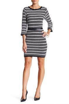 Tart Myra Striped Faux Leather Trim Dress