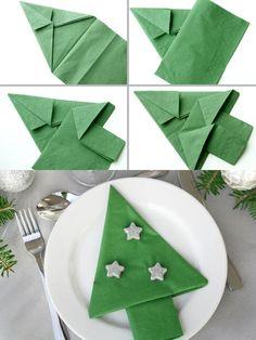 Сервировка новогоднего стола: салфетки