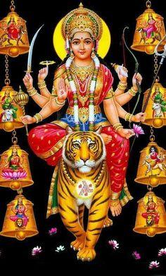 The Hindu goddess warrior Durga Navratri Greetings, Navratri Wishes, Durga Maa, Durga Goddess, Shri Hanuman, Krishna, Maa Durga Hd Wallpaper, Navratri Wallpaper, Navratri Puja