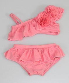 I love everything about this!! Summer please hurry up! Look at this #zulilyfind! Pink Rosette Ruffle Asymmetrical Bikini - Toddler & Girls by Mia Belle Baby #zulilyfinds