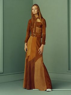 Zara SS '15 lookbook featuring a '70s inspired suede patchwork maxi dress