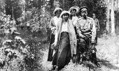 "The Grand Duchesses Maria,Anastasia and Tatiana Nikolaevna Romanova of Russia with their father,Tsar Nicholas II of Russia whilst in captivity at Tsarskoe Selo. ""AL"""
