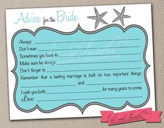 Starfish Bridal Shower Mad Libs, Printable DIY Advice Cards, Beach Wedding, Shower Game in Aqua, INSTANT DOWNLOAD by Event Printables on Etsy, $15.00